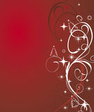 Red winter background. Winter background with stars (vector Stock Photography