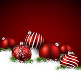 Red winter background with christmas balls. Royalty Free Stock Photography