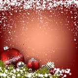Red winter background with christmas balls. Abstract red christmas background with fir branches and balls. Vector illustration Royalty Free Stock Photography