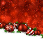 Red winter background with christmas balls. Abstract red christmas background with fir branches and balls. Vector illustration stock illustration