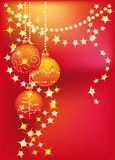 Red Winter background with Christmas tree balls. New red background with gold garlands and Christmas tree balls vector illustration