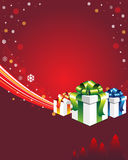 Red winter background with gift box. Winter background with gift boxes and place for your text Royalty Free Stock Photos