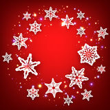 Red winter background with snowflakes. Vector illustration Stock Photos