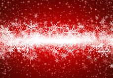 Red winter background with snowflakes. Vector illustration Stock Images