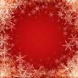 Red winter background with snowflakes. Vector illustration Stock Image