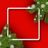 Red winter background with spruce branches. Red square winter background with spruce branches and snowflakes. Vector illustration Royalty Free Stock Photos