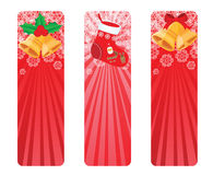 Red winter banner. Set of three Christmas banner in red color Stock Photo