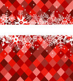 Red winter banner with snowflakes Stock Photos