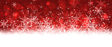 Red winter banner with snowflakes. Stock Photo
