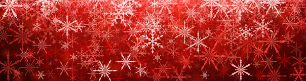 Red winter banner with snowflakes. Vector illustration Stock Image