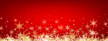 Red winter banner with snowflakes. Stock Photography