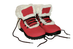 Red winter boots. Royalty Free Stock Photos