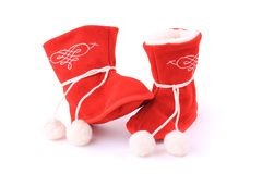 Red winter boots for baby Royalty Free Stock Photos