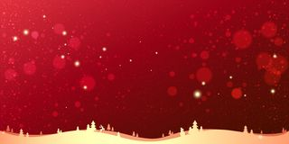 Red winter Christmas background with gold landscape, snowflakes, light, stars. Xmas and New Year card. Vector Illustration vector illustration