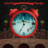 Red winter city. Holiday greeting card for Christmas or New Year with  Red winter city and  red alarm clock . Computer graphics Stock Photo