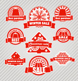 Red winter discount labels Stock Photos
