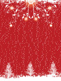 Red winter flourish and christmas tree background Stock Photos