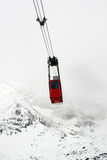 Red winter gondola Stock Photo