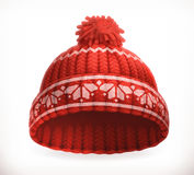 Red winter knitted hat. Vector icon Royalty Free Stock Images