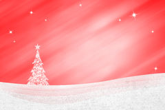 Red winter landscape with Christmas tree background Royalty Free Stock Photography