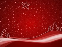 Red winter scene. Christmas trees in red winter snowfall scene with star Royalty Free Stock Photos