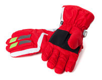 Red winter ski gloves Stock Images