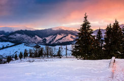 Red winter sunset in mountains Royalty Free Stock Images