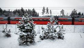 Red winter train Royalty Free Stock Image