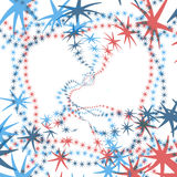 Red wiped in blue. Red and blue stars on a white background Stock Photography