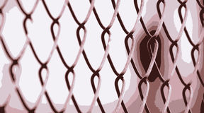 Red Wire Fence Stock Photography