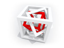 Red wire-frame cube inside of two white Stock Images