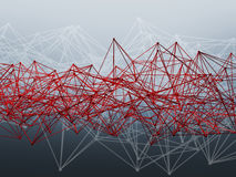 Red wire-frame lattice mesh. 3d render. Abstract futuristic polygonal structure and red wire-frame lattice mesh. 3d render illustration Royalty Free Stock Photos