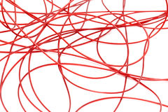 Red wire on a white background Stock Photos