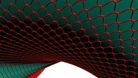 Red wireframed curved surface Stock Photos