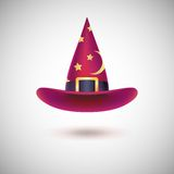 Red witch hat for Halloween. Red witch hat with black strip and stars for Halloween, on white background stock illustration