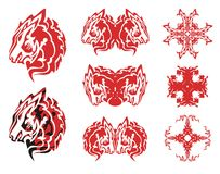 Red wolf head symbols and crosses from it Royalty Free Stock Photo