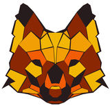 Red Wolf. Simple geometrical red, black and orange wolf Stock Photography