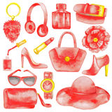Red woman accessories set Stock Photo