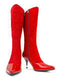 Red woman boots Royalty Free Stock Image