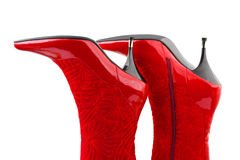 Red woman boots Royalty Free Stock Photo