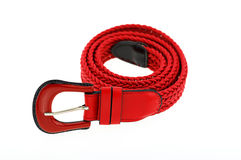 Red woman crochet belt isolated on white background Royalty Free Stock Photo