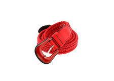 Red woman crochet belt isolated on white background Royalty Free Stock Images