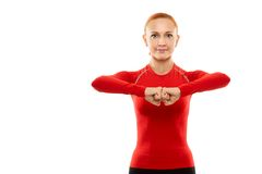Red woman doing fitness Royalty Free Stock Photos