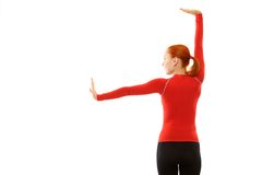 Red woman doing fitness Royalty Free Stock Photography