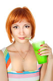 Red woman with drink Stock Image