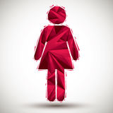 Red woman geometric icon made in 3d modern style, best for use a Stock Photography
