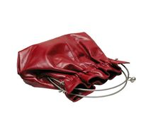 Red woman handbag. Isolated on white red woman handbag stock photo