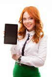 Red woman holding tablet Stock Photos