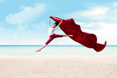 Red woman jump Stock Photography