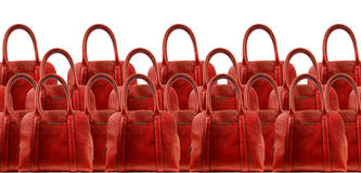 Red woman leather hand  bag Stock Photo